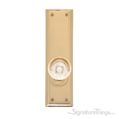 Empire Round Crystal Door Knob with Quaker Rosette - Polished Brass