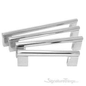 Polished Wide Pedestal Square Stainless Steel Bar Pull - 12mm