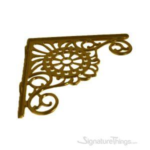 Large Rosette Design Shelf Bracket - Brass