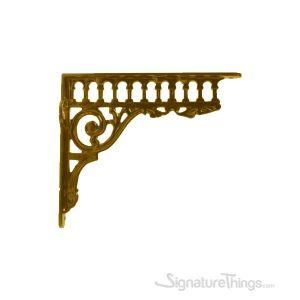 Greco Cast Iron Shelf Bracket - Brass