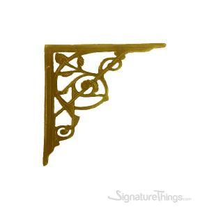 Large Swirl Cast Brass Shelf Bracket