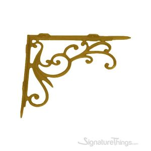 Decorative Vines Cast Brass Shelf Bracket