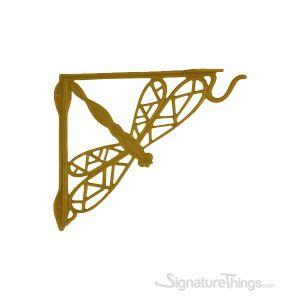 Dragonfly Cast Brass Shelf Bracket with Plant Hanger