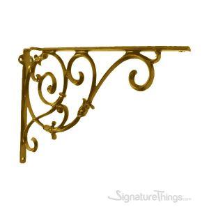 Large Cast Brass Shelf Bracket with Vine Pattern