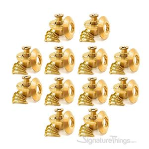 Wood Deck Brass Anchor with Collar for Pool Safety Cover - 10 Pack
