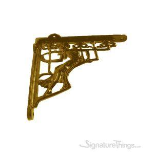 Cast Iron /  Brass L Shelf Bracket