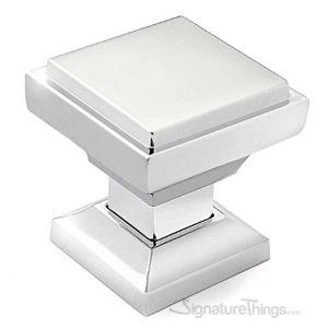 "Cabinet Hardware Modern Knobs  1-1/8"" square - 10 Pack  - Chrome Finish"