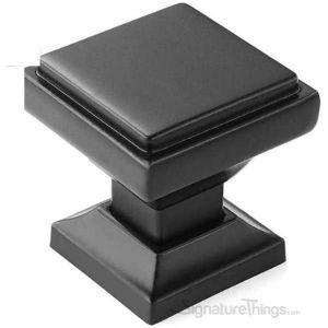 "Cabinet Hardware Modern Knobs  1-1/8"" square - 10 Pack  - Matte Black Finish"