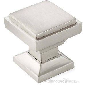 "Cabinet Hardware Modern Knobs  1-1/8"" square - 10 Pack  - Satin Nickel Finish"