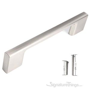 """10 Pack Contemporary Solid Sleek Handle Pulls  - 3-3/4"""" Hole Center, Satin Nickel finish"""