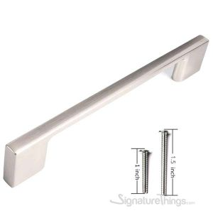 """10 Pack Contemporary Solid Sleek Handle Pulls  - 5"""" Hole Center, Satin Nickel Finish"""