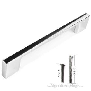 """10 Pack Contemporary Solid Sleek Handle Pulls  - 5"""" Hole Center, Chrome Finish"""
