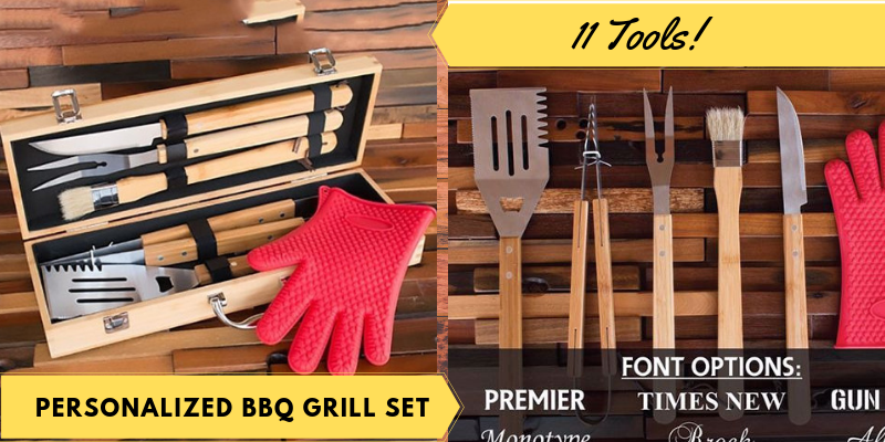 Personalized BBQ Grill Set, 11 Tools, Father's Day Gifts Ideas