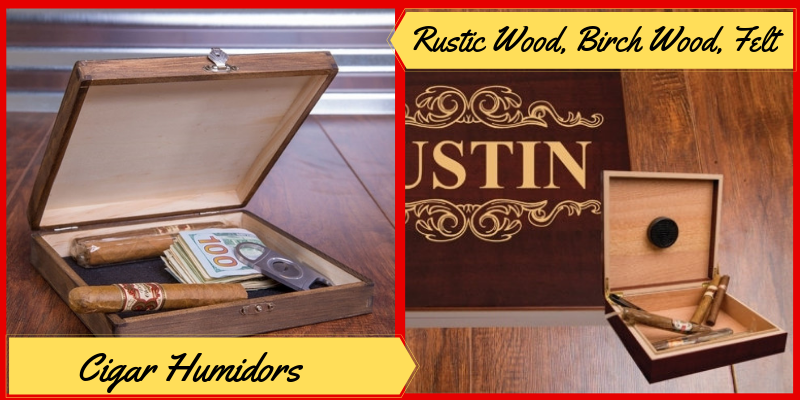 Personalized Cigar Humidors, Engraved Cigar Box, Father's Day Gifts Ideas