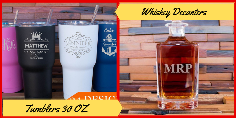 Personalized Drinkware,Tumblers, Whiskey Decanter, Beer Mugs etc. Father's Day Gifts Ideas