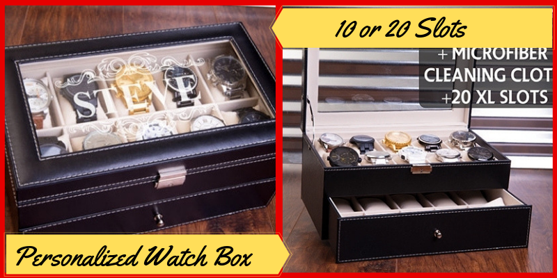 Personalized Watch Box, 10 or 20 Slots, Watch Case, Father's Day Gifts Ideas