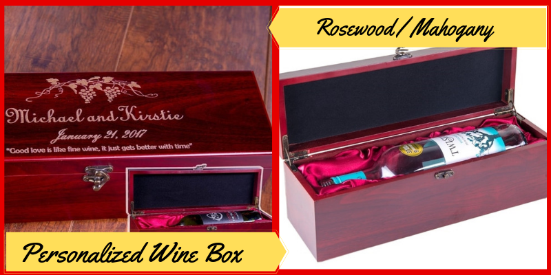 Personalized Wine Box, Rosewood / Mohogany, Engraved Wine Storage Box, Father's Day Gifts Ideas
